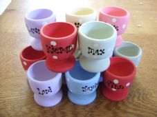 Shabby Personalised 10 egg cups Chic Wedding Favor Favours Names and Date Gift..
